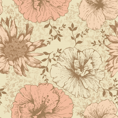 pink hills: Seamless floral wallpaper, hand-drawing  Vector illustration  Illustration