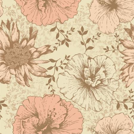 Seamless floral wallpaper, hand-drawing  Vector illustration  Illustration