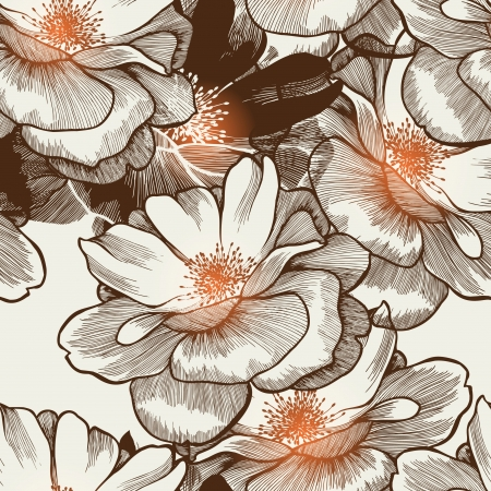 blooming: Glamour seamless wallpaper with blooming roses. Vector. Illustration