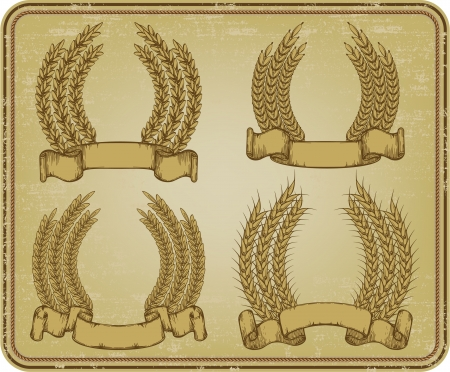 bundle: Vintage frame with wreaths of wheat. Vector.