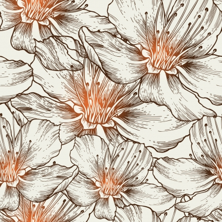 Glamorous seamless background with blooming flowers, hand drawing. Vector illustration. eps10 Illustration