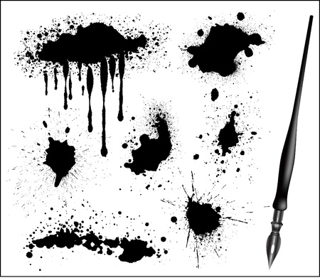Ink Splat Set and black calligraphic pen