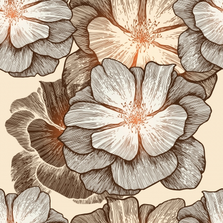 Glamour seamless wallpaper with wild roses, hand-drawing  Vector illustration  Eps10  Vector