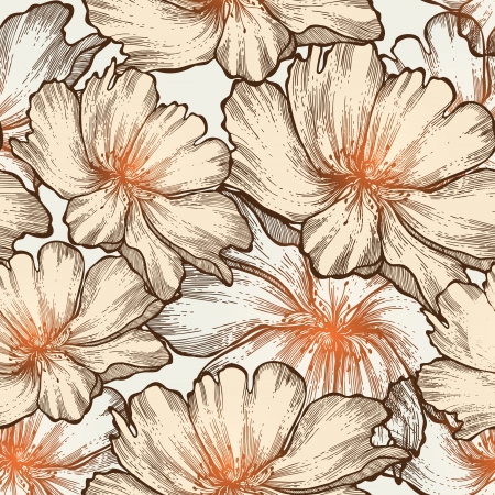 Romantic seamless pattern with blooming roses, hand-drawing. Vector illustration. eps10