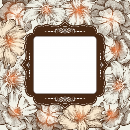 Vintage frame with roses glamorous, hand-drawing. Vector illustration. Vector
