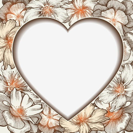 roses and hearts: Heart frame with glamorous roses, hand-drawing. Vector illustration.