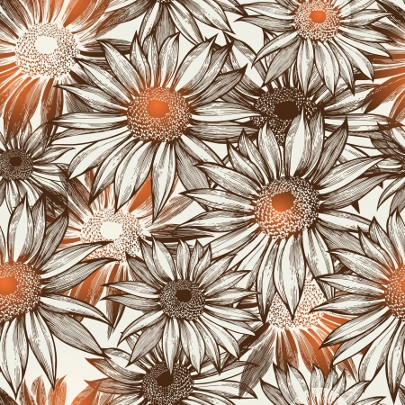 Seamless glamorous floral pattern, hand-drawing. illustration.  Vector