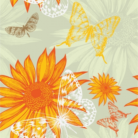 Seamless pattern with sunflowers and butterflies, hand drawing. Vector