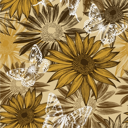 Seamless pattern with blooming sunflowers and flying butterflies.  Vector
