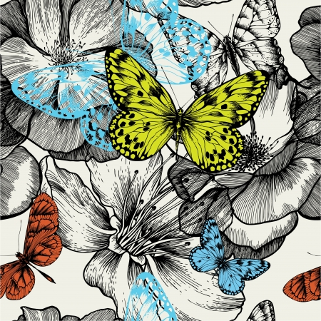 butterfly garden: Seamless pattern with blooming roses and flying butterflies, hand drawing. Illustration