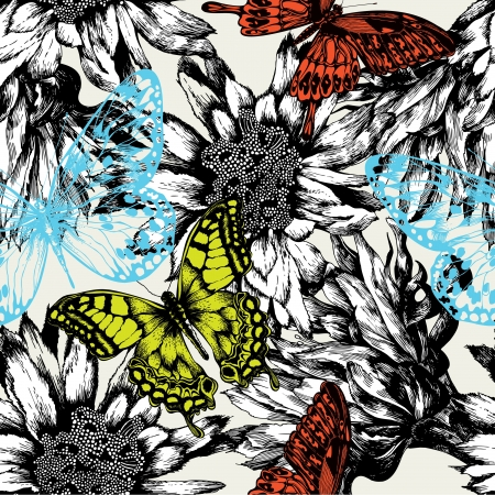 Seamless pattern with abstract flowers and flying butterflies. Vector