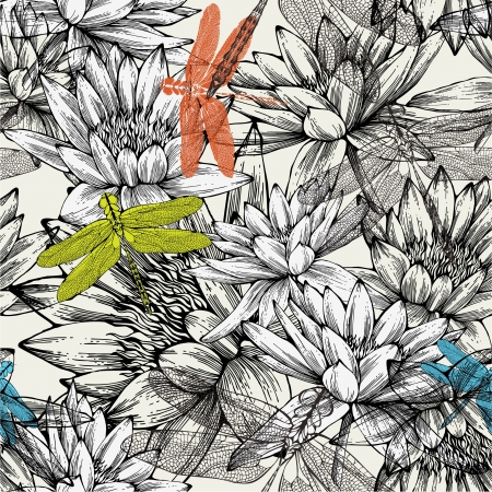 Seamless pattern with water lilies and dragonflies, hand drawing. Иллюстрация
