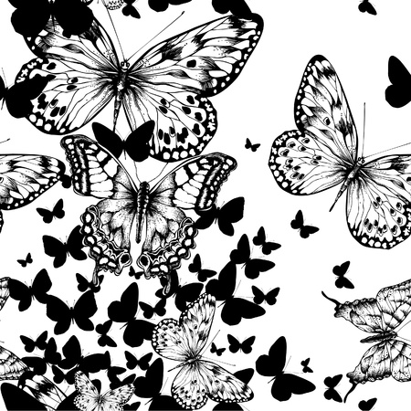 flying leaves: Seamless pattern with flying butterflies