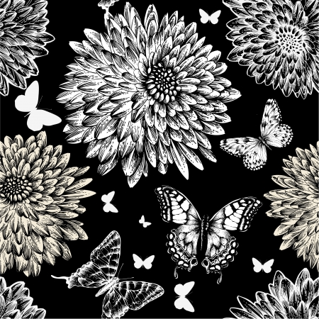 black and white forest: Seamless pattern with chrysanthemums and butterflies