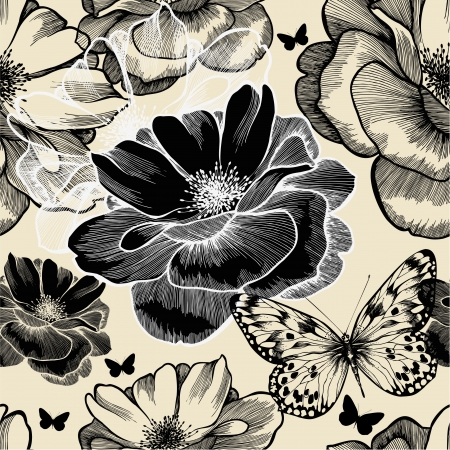 Seamless pattern with wild roses and butterflies
