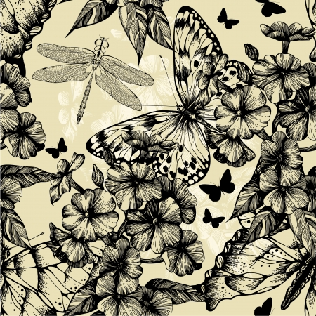 modern garden: Seamless pattern with blooming phlox, butterflies and dragonflies
