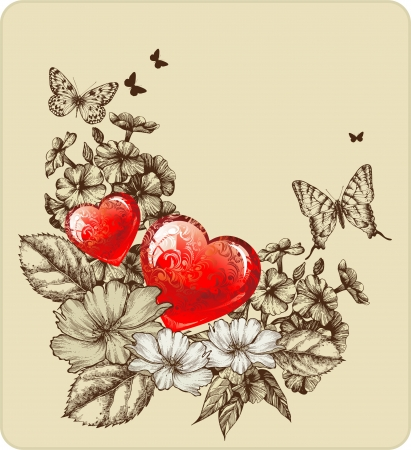Vector illustration of Valentines Day with roses and butterflies. Vector