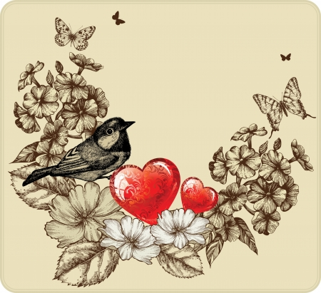 Vector illustration of Valentine's Day with a bird, blooming roses, phlox and butterflies. Vector