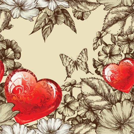 Vector seamless pattern Valentines Day with flowers and butterfly. Иллюстрация