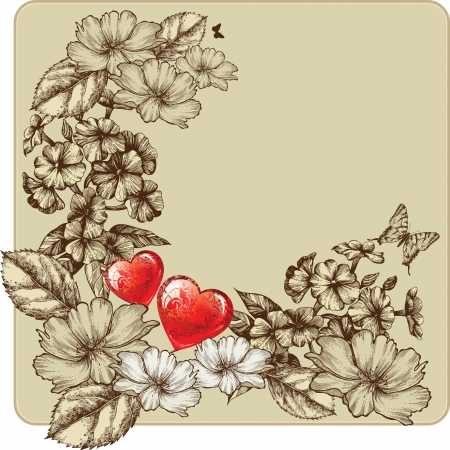 Vintage frame for Valentine's Day with blooming roses and phlox. Vector illustration. Vector