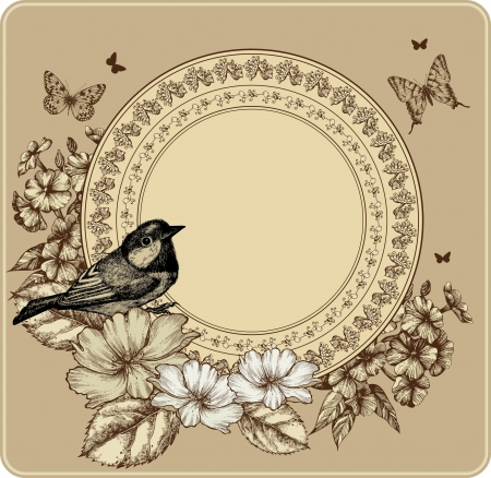 fidelity: Vintage frame with bird and blooming roses, phlox. Vector illustration.