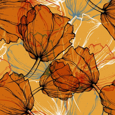 Seamless pattern with blooming tulips, hand-drawing. Vector illustration. eps10 Vector