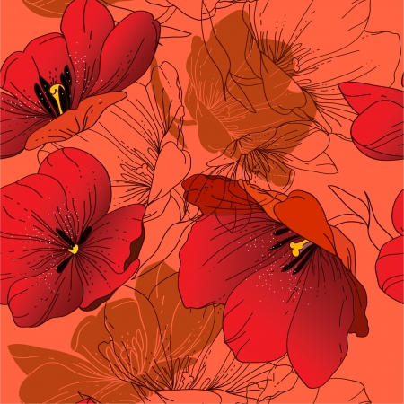 Seamless pattern with blooming red tulips, hand-drawing Vector