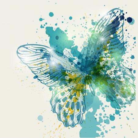 grunge wings: Farfalla con macchie colorate, vettore illustration.Eps10
