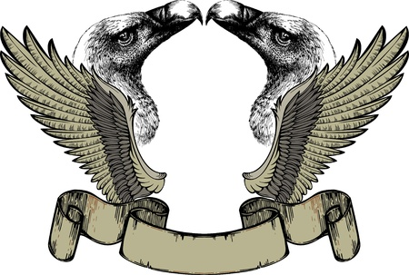 Emblem with wings and griffin, hand drawing  illustration  Vector