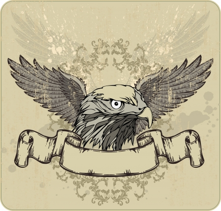 Emblem an eagle, wings and vintage banner. Vector