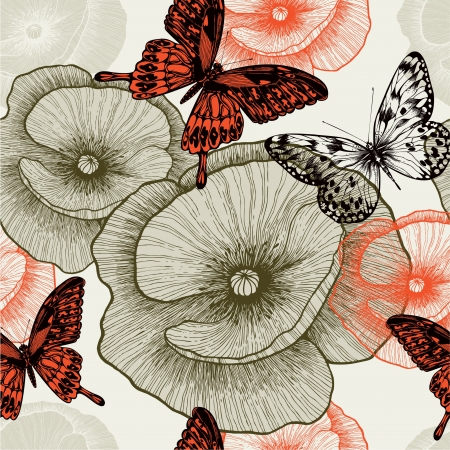 Seamless floral pattern with poppies and butterflies. Vector