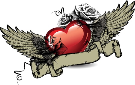 tatuaje de aves: Emblema con corazones rojos, rosas y alas ilustraci�n vectorial