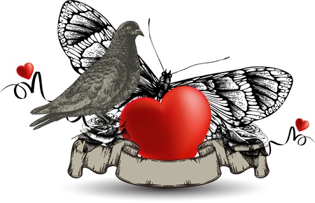 Emblem with bird dove and heart, a butterfly and roses  Vector illustration  Vector