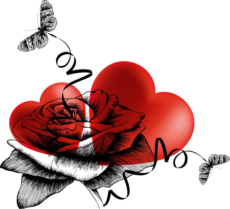 Valentines Day background with hearts, roses and butterflies. Vector illustration. Vector