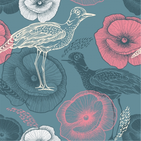 Seamless pattern with birds and flowers. Vector illustration. Иллюстрация