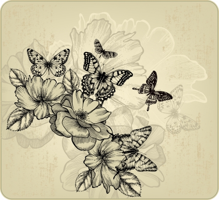 Vintage floral background with roses and butterflies. Vector illustration. Иллюстрация