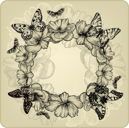 flower sketch: Vintage background with a wreath of roses and butterflies Illustration