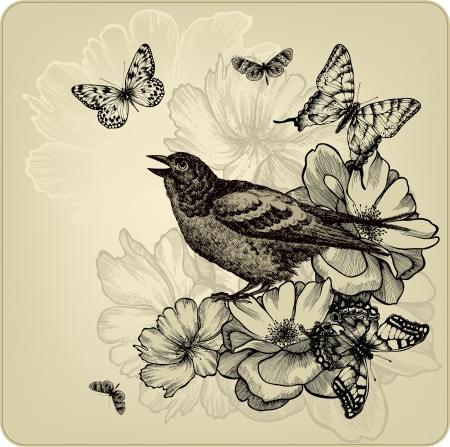 Vintage background with birds, roses and butterflies. illustration.