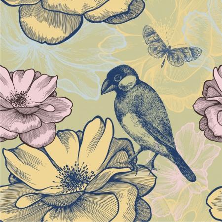 aves caricatura: De fondo sin fisuras con los p�jaros, rosas y mariposa. Ilustraci�n del vector.