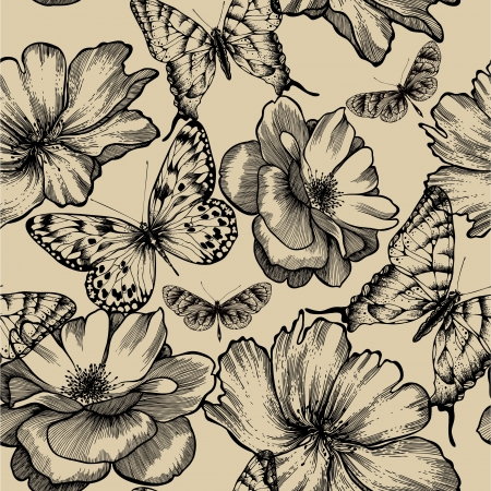 Seamless pattern with roses and butterflies, hand drawing. Vector illustration. Vector
