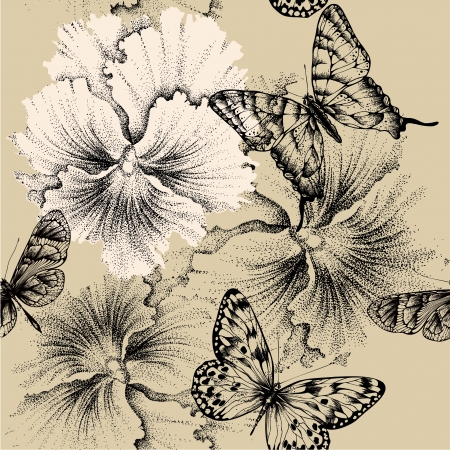 pansies: Seamless pattern with pansies and butterflies. Vector illustration.