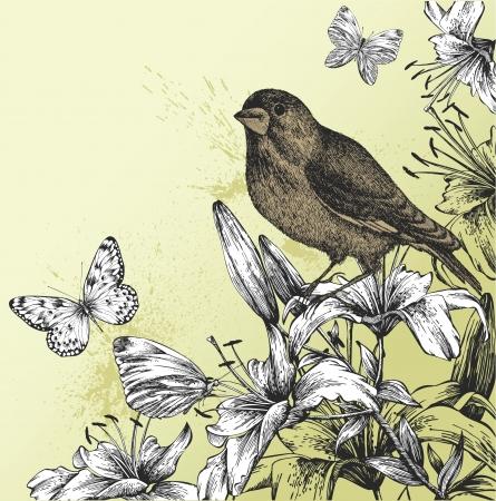 Fondo con los lirios en flor, mariposas y aves sentado. ilustración.