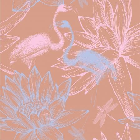 flamingi: Jednolite wzór z niebieskich i różowych flamingów, ważki i nenufary. Ilustracja