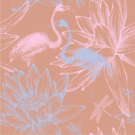 Seamless pattern with blue and pink flamingos, dragonflies and water lilies.  Vector
