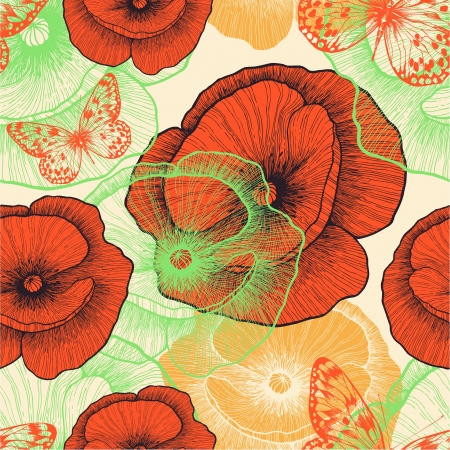 Seamless pattern with red poppies and butterflies, hand-drawing. Vector illustration. Stock Vector - 18961667