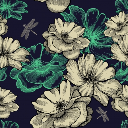 Seamless pattern with blooming wild roses and dragonflies. Vector illustration.