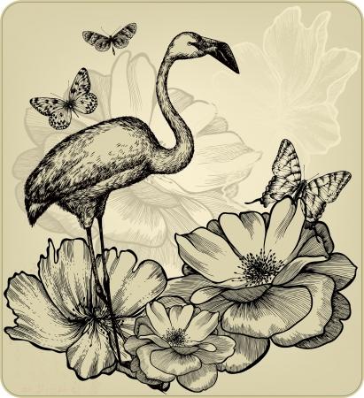 flamingi: Archiwalne tła z róż kwitnących, flamingi ptaków i motyli. Ilustracji wektorowych. Ilustracja