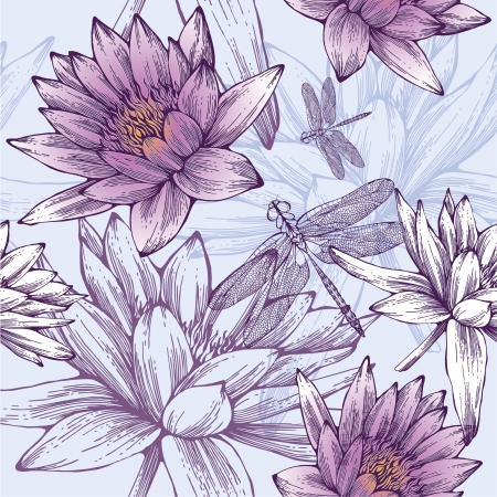 Seamless pattern with water lilies and dragonflies. Vector illustration. Illustration