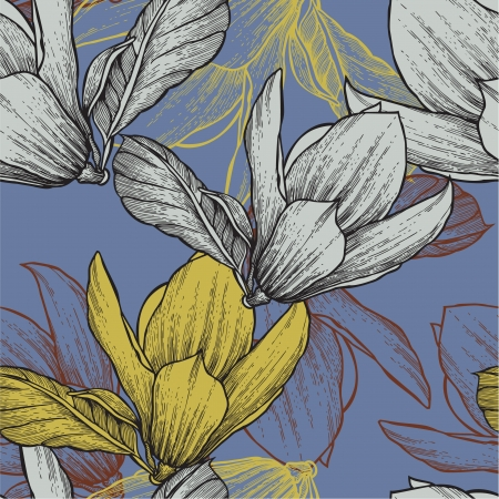 Seamless pattern with blossoming magnolias, hand-drawing   Vector