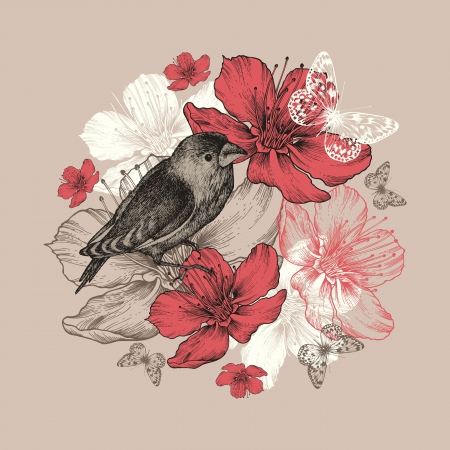 Flower background with bird, butterfly and flowering apple trees